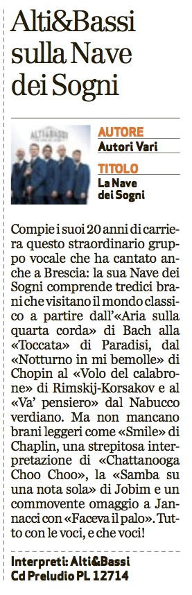 La recensione su Brescia Oggi a cura di Luigi Fertonani
