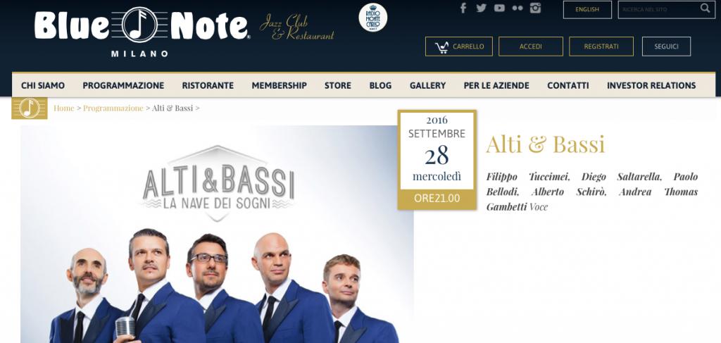Alti e Bassi al Blue Note 28-9-2016